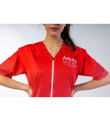 Casacca Donna Bolle Rossa per Toelettatore - ariespet