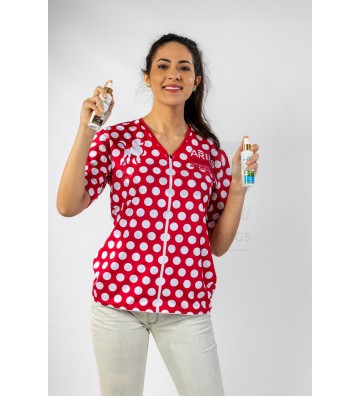 Casacca Donna Rosso a bolle per Toelettatrice - ariespet